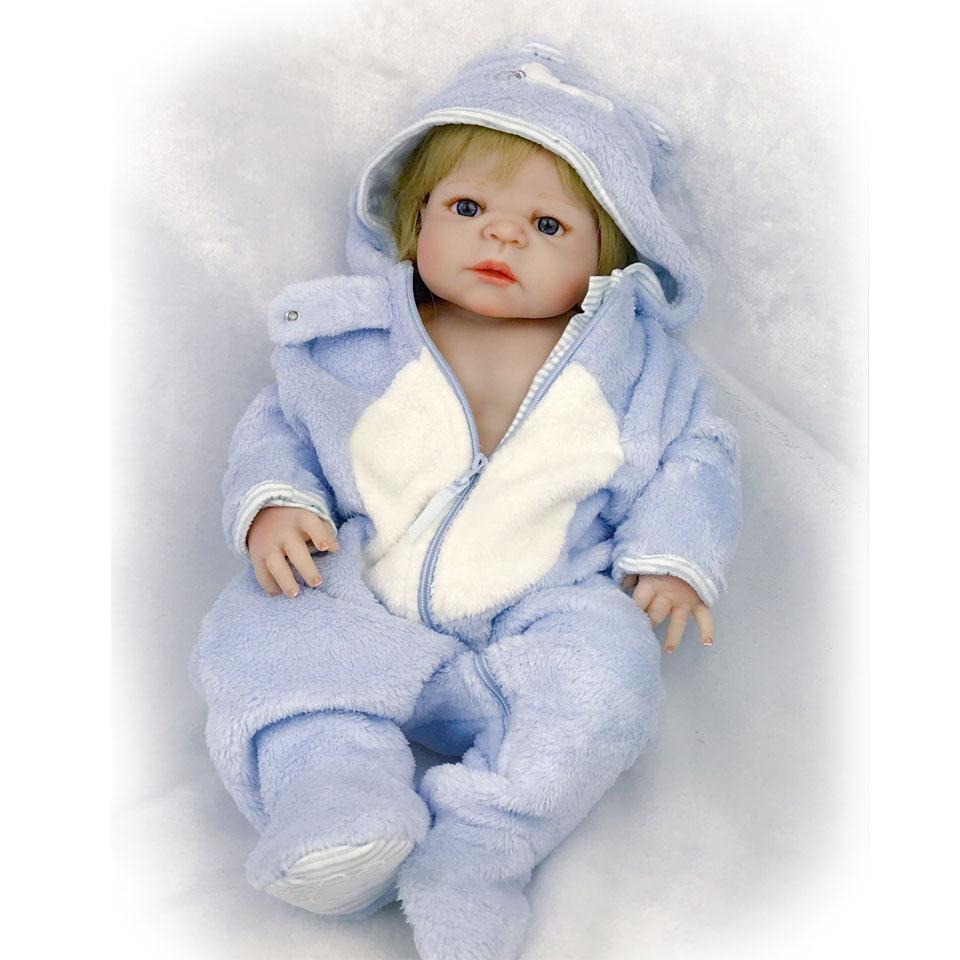 23'' Full Vinyl Silicone Babies Doll Realistic Reborn bebe Born Boy Lifelike Handmade Reborn Baby Doll For Children's Day Gift недорого