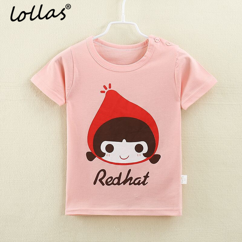 Lollas 2018 Summer New Girl T Shirt Cute Cartoon Cotton Short Sleeve T-shirt Children Kids Girls Tee Shirts Childs Clothes