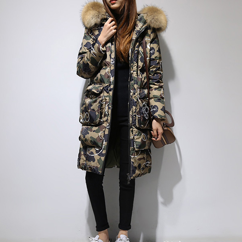 New Camouflage Real fur Thick Coat   Parka   2018 Women's Mid-long Winter Jacket Hooded thick women's jackets chaqueta mujer