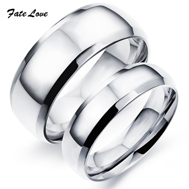 customerized engraved classic stainless steel wedding rings high polished rings for couple wedding ringengagement - Stainless Steel Wedding Ring