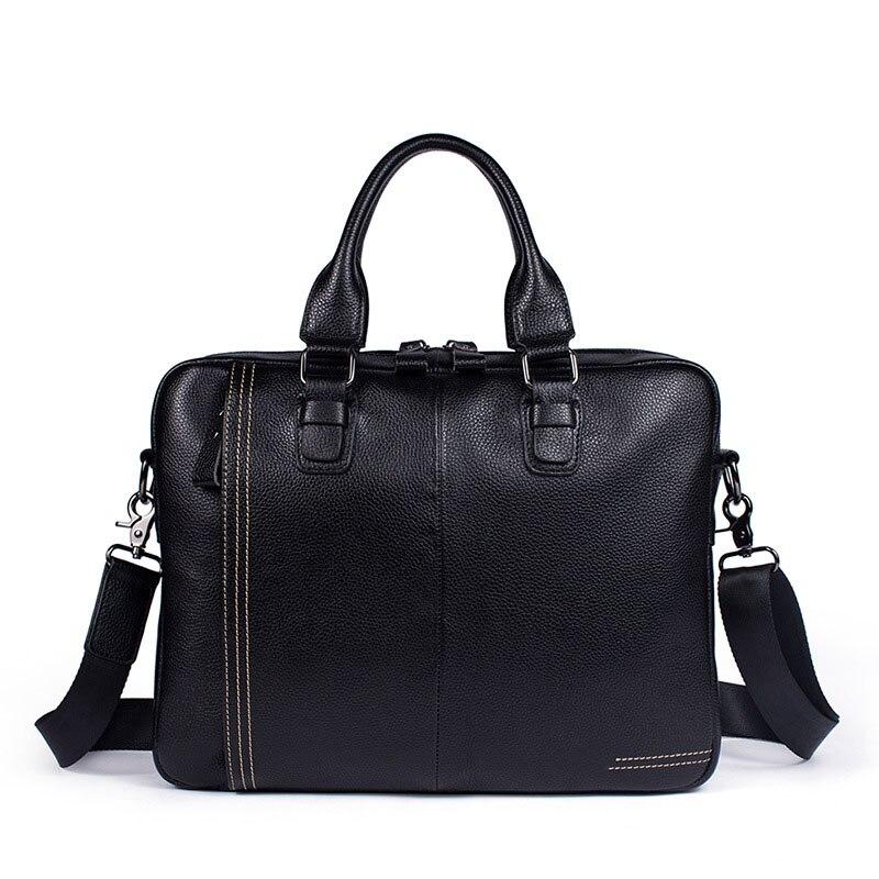 New Luxury Business Men's Briefcase 100% Cow Genuine Leather Male Shoulder Bag Real Leather Men Messenger Bag Tote Computer Bag