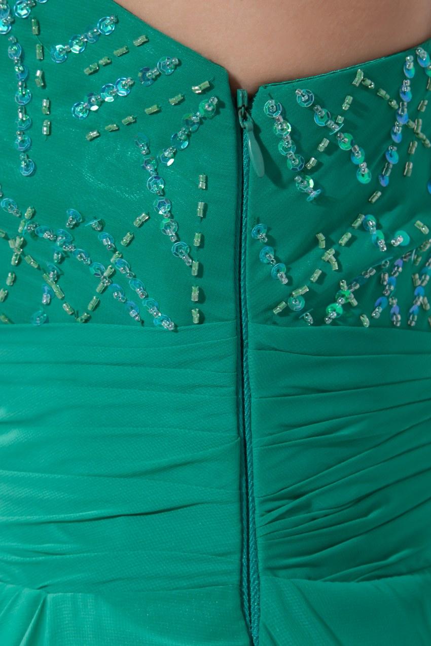 Сексуальное зеленое платье на одно плечо шифон длинный Выпускной 2019 Новое поступление халат de soiree вечерние платья - 6