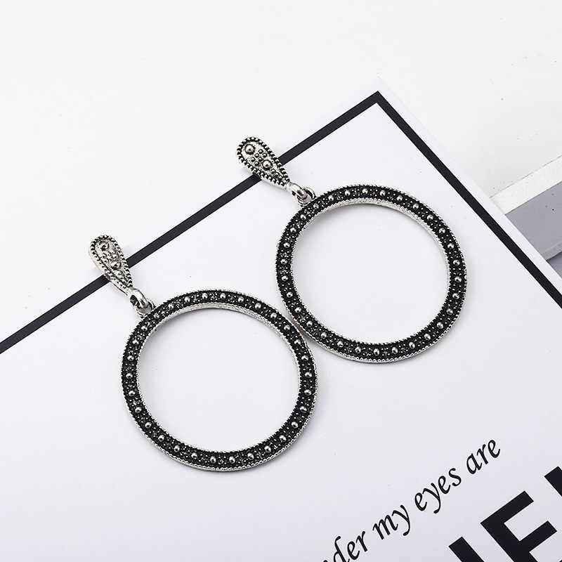 Zinc Alloy Black Round Geometric Loop Circle Stone Black Gun Plated Trendy Vintage Ethnic Hanging Drop Dangle Earrings for Women