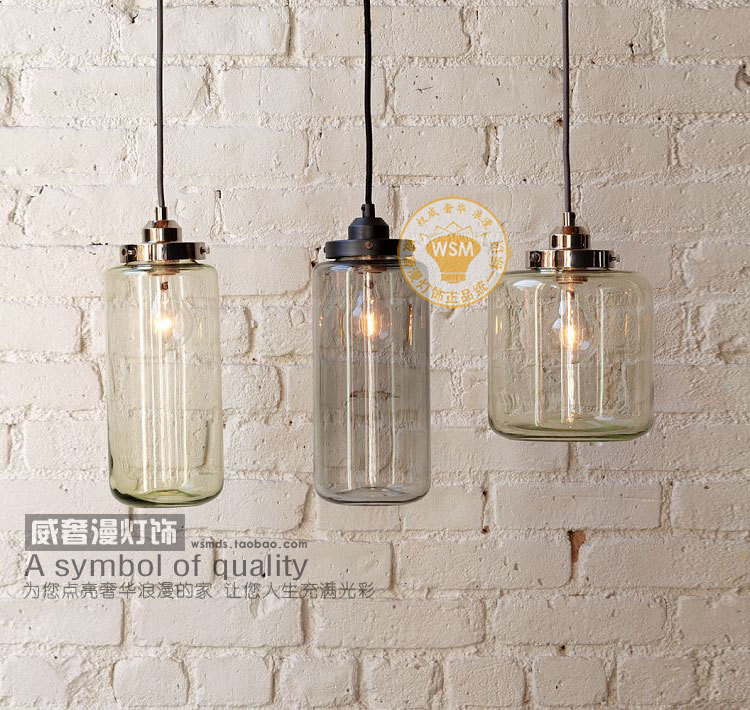 1 Piece Vintage Clear Gl Bottle Pendant Light Hanging Lamp Mason Jar Shade Kitchen Dining Room Lighting Art Decoration In Lights From