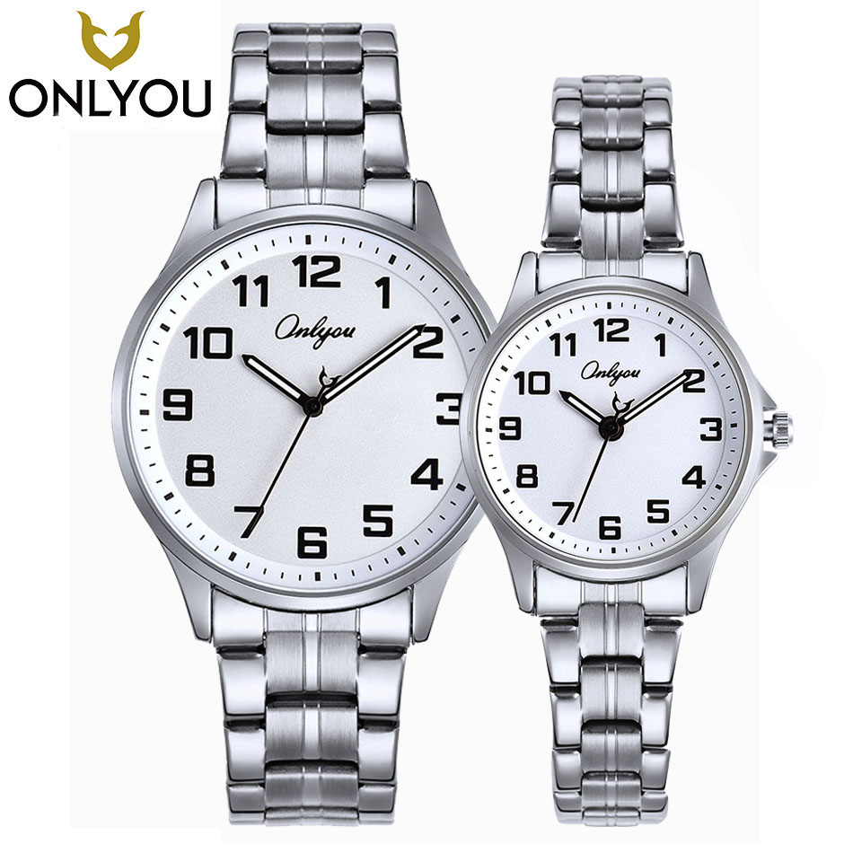 ONLYOU Watches Women Luxury Brand Watch Quartz Wristwatches Fashion Stainless Steel Casual Watch Lovers Valentine's Day Gift onlyou new fashion black men wristwatches leather watchband lovers watch luxury brand simple quartz watches women clock montre
