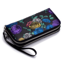 Couro genuíno grande capacidade duplo zíper bolsos feminino floral longo carteira titular do cartão de crédito senhoras bolsa rosa flor embreagem