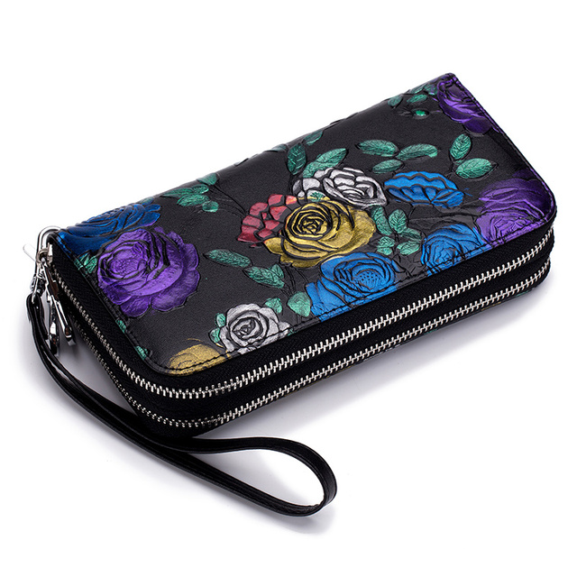 Genuine Leather Large Capacity Double Zipper Pockets Women Floral Long Wallet Credit Card Holder Ladies Purse Rose Flower Clutch