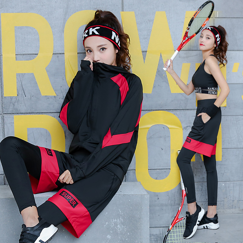 Yoga Set Running Gym Women Sportswear Solid Pathwork Letters Plus Breathable Body Building Sports Clothing Fitness