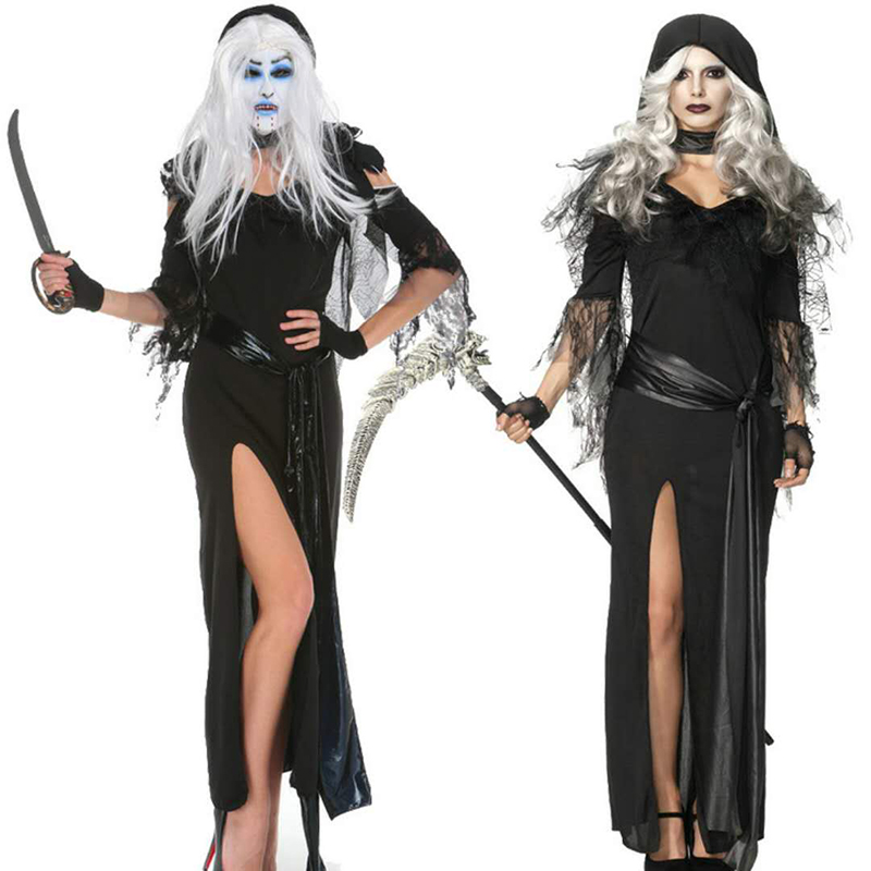New 2018 High Quality Halloween Gothic Costume Black Long Witch Costume Sexy Witch Costume Ghost Festival Christmas Costume Masq
