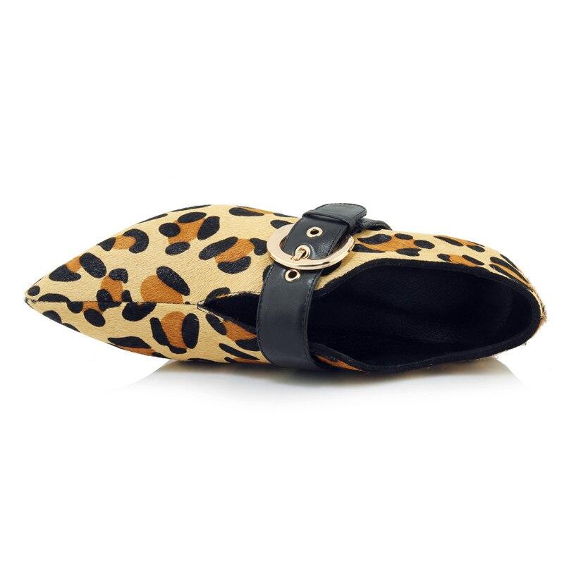 Tacones Mujer Bolso Tobillo Zapatos Punta Enmayer Size34 Med De 39 Causal Moda leopard Hebilla Black Extraño Cr1059 Mujeres Crin Botas 1wABZ