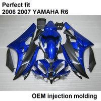 100% fit Injection molding fairings for Yamaha YZF R6 2006 2007 dark blue black motorcycle fairing kit YZFR6 06 07 BN07