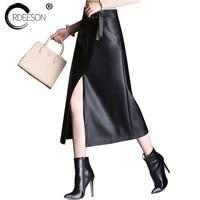 ORDEESON Mid Calf Midi Long Skirt Leather Skirt Plus Size Faux Leather Winter Black High Waist Skirts Womens A Line M XXXL