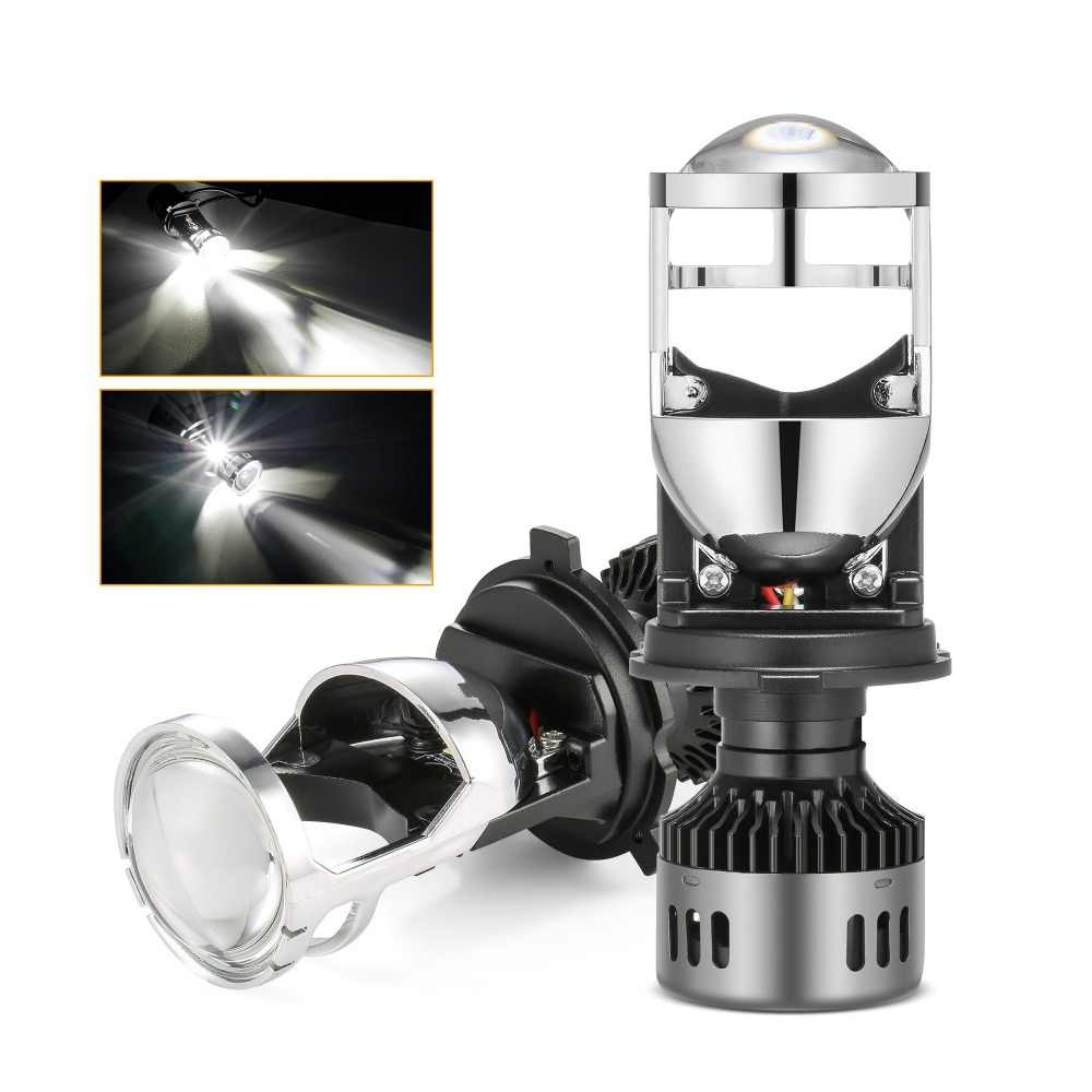 H4 LED Headlight Bulb with Mini Projector Lens H4 LED Conversion Kit 9600LM Automobiles Hi/Lo Beam LED Bulbs 12V 24V 6500K White
