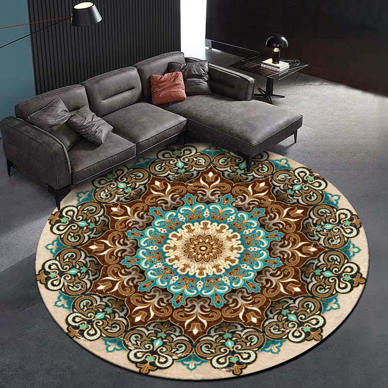 Mandala Round Carpets And Rugs Bohemian Style Bedroom Living Room Floral Printed Sofa Chair Decor Anti-Slip Floor Mats Tapete