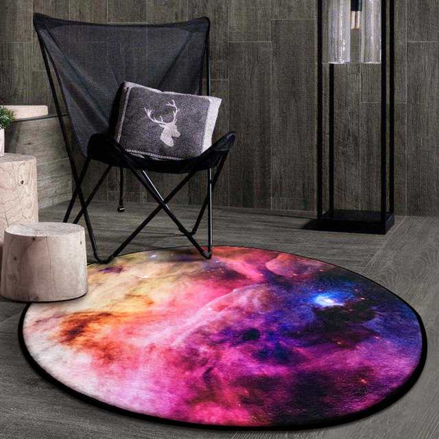 Cosmic Outer Space Stars/Starry Sky Soft Thicken Coral Velvet Round Carpet and Rug for Kids Living Room Non-slip Absorbent Mats