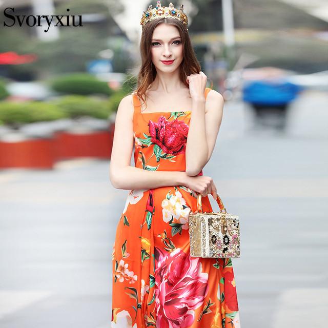 c667ab7c9913b Women's Summer Runway Maxi Long Dress Crystal Charming Rose Floral Print  Orange Party Spaghetti Strap Maxi Dresses