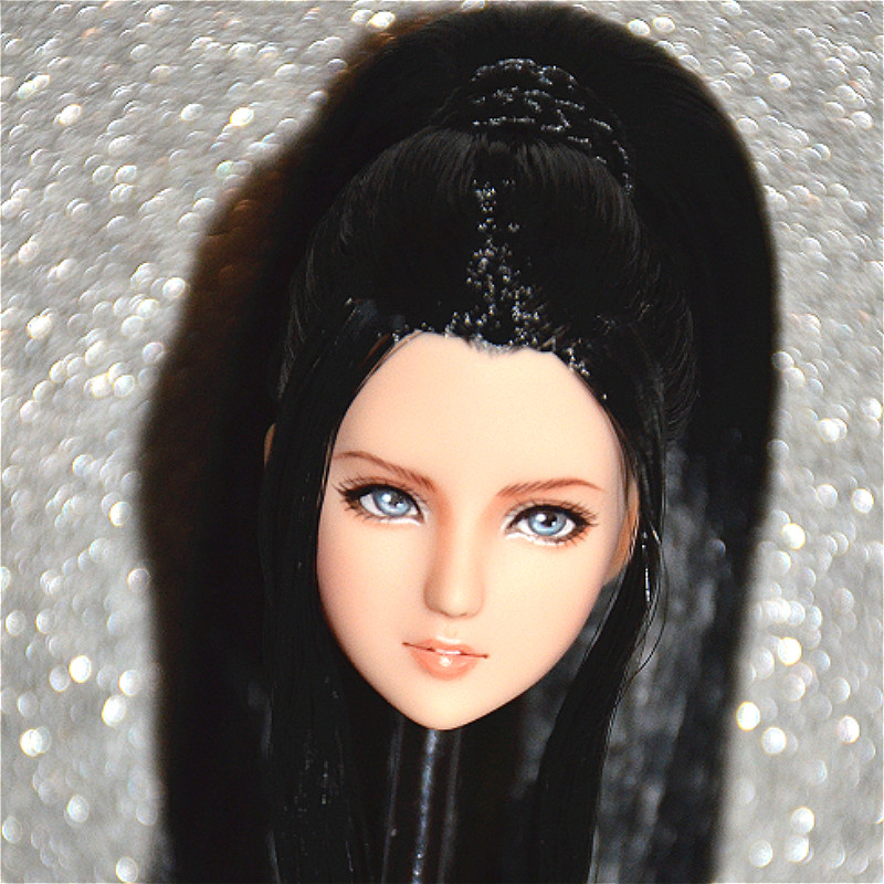 Cosplay 1//6 Pale Long Hair Head Sculpt OB Fit 12/'/' Body Make up Face Doll