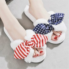 Fashion Ladys Candy-colored Bow Slippers 2019 New Winter Women White Plush Warm Soft Indoor Home&House Shoes Wedding