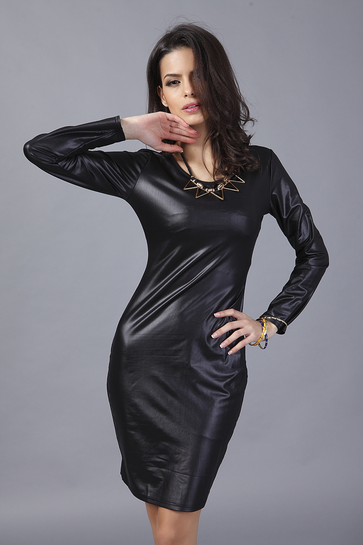 Fashion Plus Size Ladies  PU Leather Dress Women Bandage Dress Full Sleeve  Sexy Party Bodycon Women s OL Work Office Dress Black-in Dresses from  Women s ... 654676900588