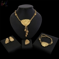 YULAILI Ball Tassel Pendant Chain Necklaces Bracelet Earrings Ring Women 24CT Gold Color Jewelry Sets African