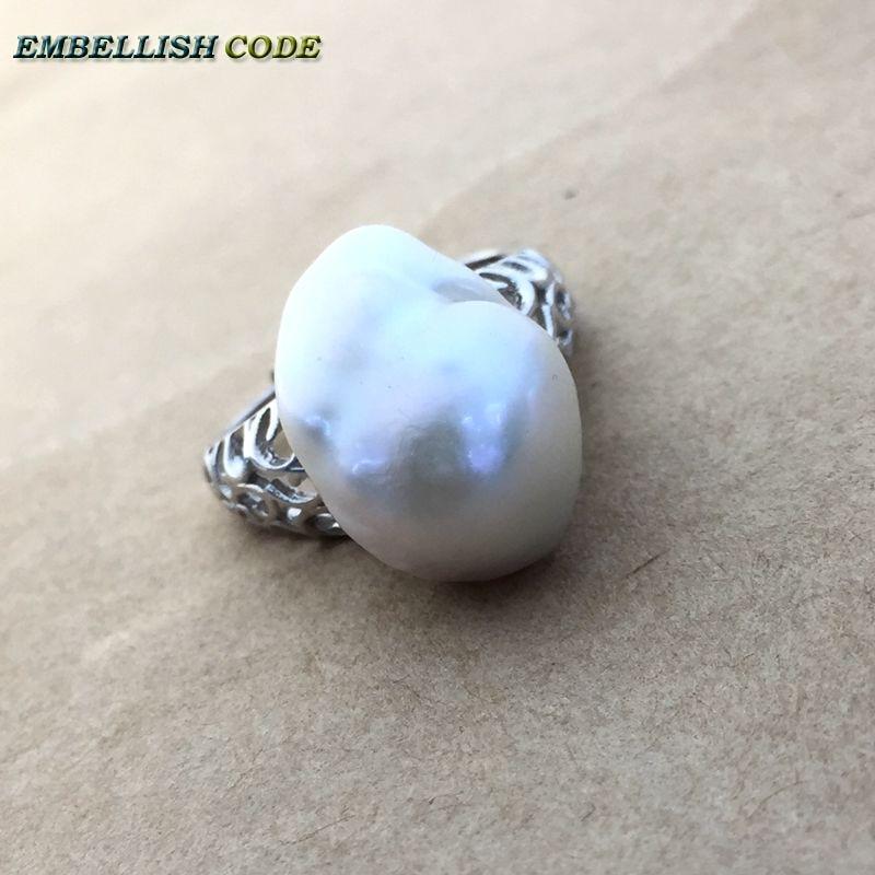 Prilagodljiva velikost Velikost baročnega bisera 925 srebrni prstan - Modni nakit - Fotografija 3