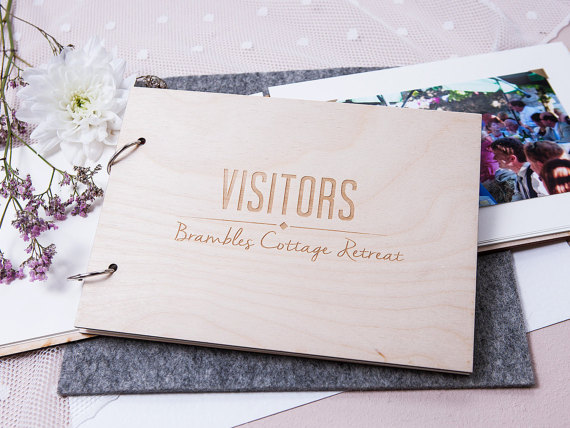 Alternative Wedding Gifts: Personalized Hotel Visitor Guest Book Wedding Gift Custom
