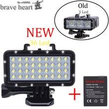 Lámpara de buceo Go pro Hero 5 con 36 cuentas, luz impermeable para Gopro 6 5 4 Xiaomi Yi 4K + yi Lite mijia SJCAM SJ8 Accesorios
