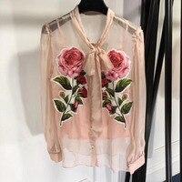 pink blouse women 2018 women summer long sleeve blouse silk blouse high quality