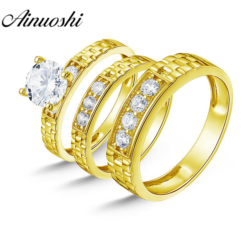 AINUOSHI 6.8g Real Gold TRIO Rings Set Engagement Jewelry 10K Yellow Gold Couple Wedding Rings Wedding Band Bridal Rings Set men wedding band cz rings jewelry silver color anillos bague aneis ringen promise couple engagement rings for women