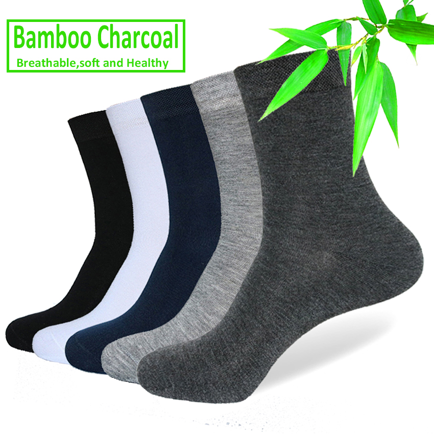 5 Pairs/lot Men Bamboo Fiber Socks Brand Casual Solid Color Business Anti-Bacterial Deodorant Breathable Man Fashion Summer Sock