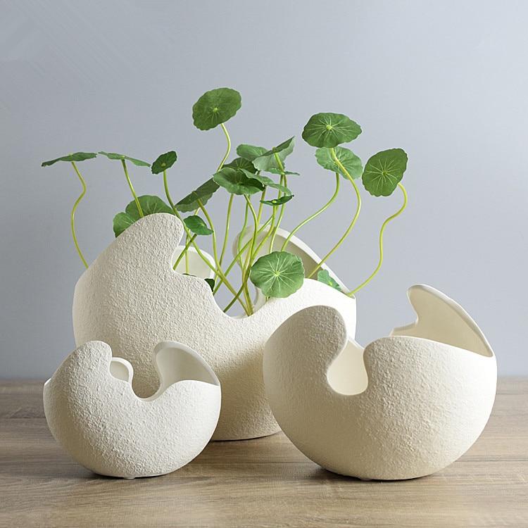 handmade creative white modern ceramic vase egg shell shaped for homes decorations matt finished unglazed flower