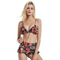 2017 Bikini Bandage Print High Waist Floral Biquini Set Halter Vintage Swimwear Brazilian Ruffled Chest Push