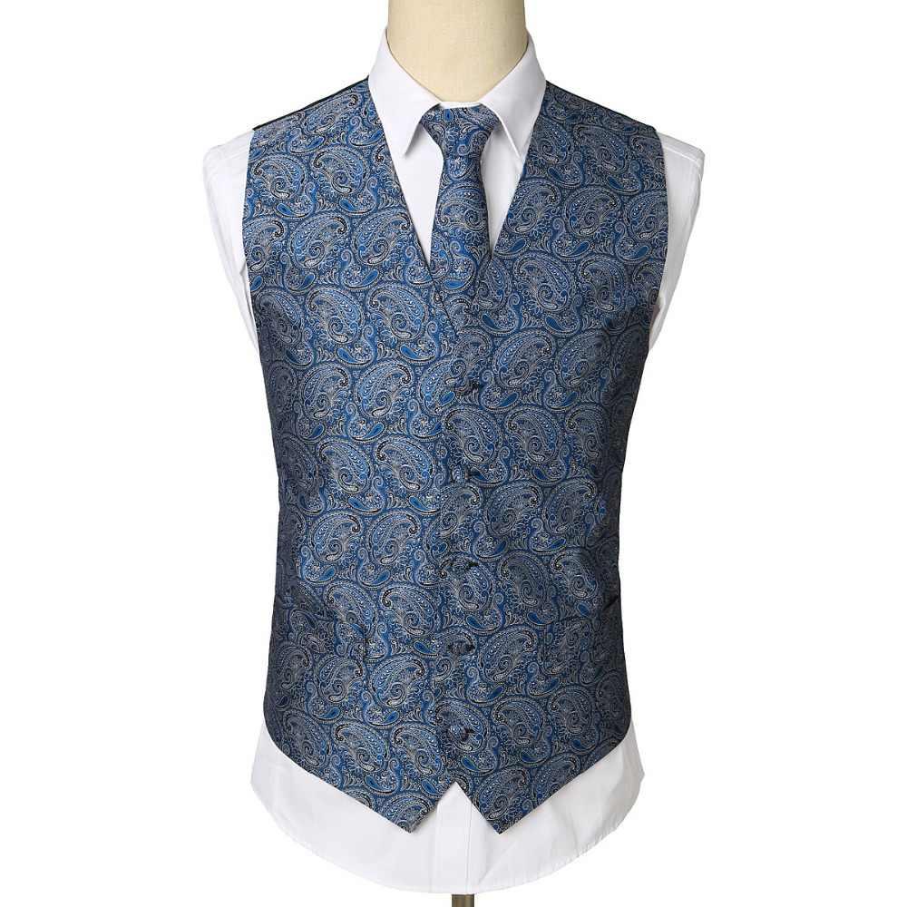Männer Schwarz Paisley Jacquard Weste Weste Krawatte Taschentuch Formale Business Weste Tasche Platz Krawatte Anzug Set Tasche Platz Set