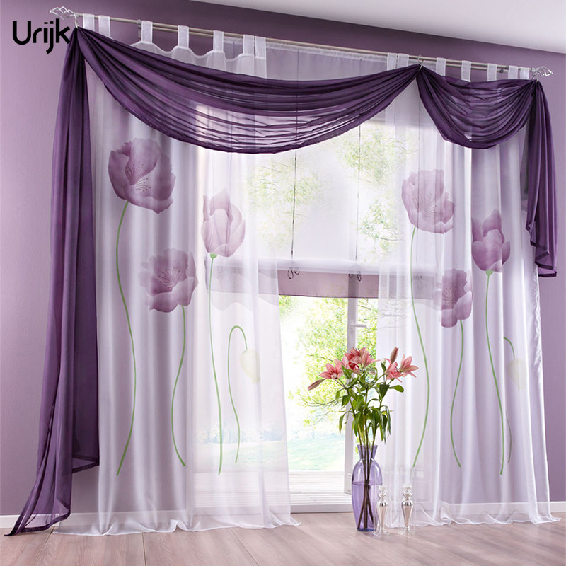 Urijk 1pc floral perspective window blinds curtain for living room purple curtains tulle panel Living room with purple curtains