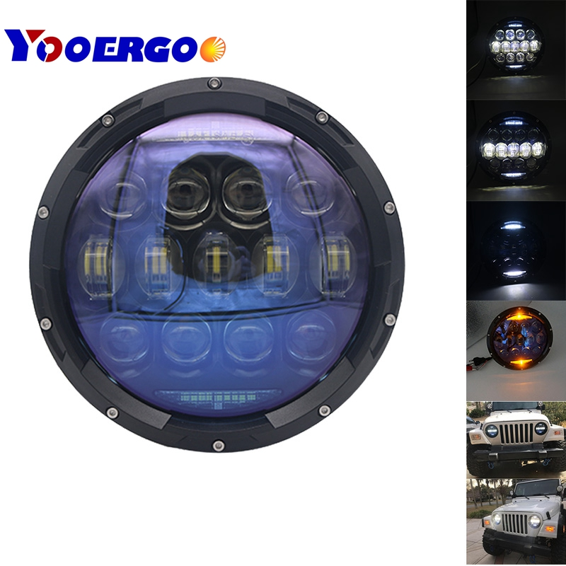 7 YOOERGOO 1 Pair 130W Bright Blue Lens Projector Inch LED Headlamps Amber Turn Signal / DRL for Jeep Wrangler JK CJ TJ LJ blue projector lens 130w 7 inch led headlights for jeep wrangler jk lj jku 7inch led headlight with white drl amber signal