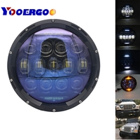 7 YOOERGOO 1 Pair 130W Bright Blue Lens Projector Inch LED Headlamps Amber Turn Signal / DRL for Jeep Wrangler JK CJ TJ LJ
