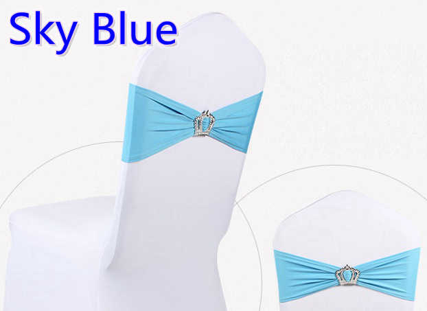 Sky blue colour Crown buckles lycra sash for wedding chairs decoration spandex band stretch bow tie lycra ribbon belt on sale
