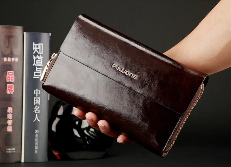 ФОТО Fashion Black / Blue / Coffee Split Leather Men Clutch Bags Luxury Business Male Purse Wallets Men's Clutch Card Holder #P600368