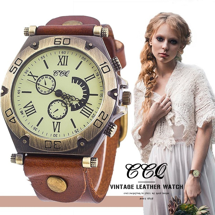 CCQ Brand Men Or Women Vintage Cow Leather Bracelet Watch Casual Luxury Male Wristwatches Relogio Masculino Relojes Hot Selling 2017 hot selling relojes band white