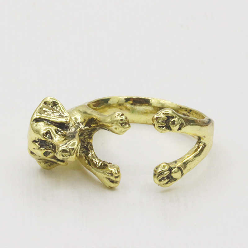 Puppy Dog Rings For Women Men Animal Open Ring Adjustable Accessories Antique Gold Silver Black Fashion Finger Jewelry