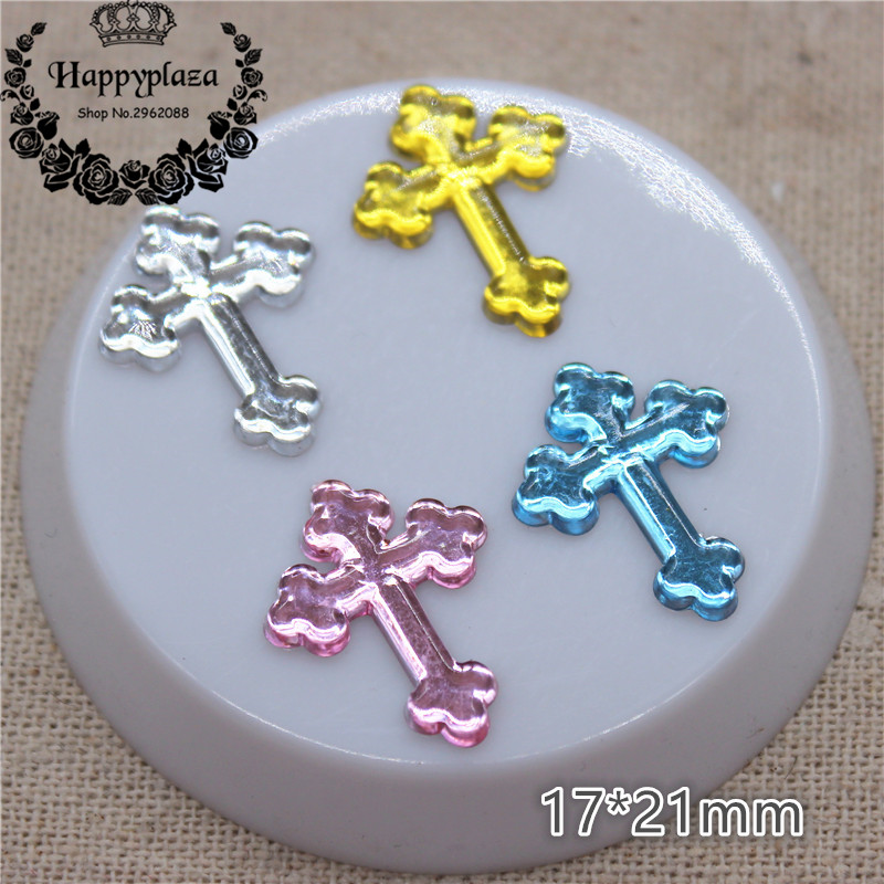 100pcs Mix Colors 17*21mm Acrylic Cross Charm Flatback Cabochon Embellishment Accessories DIY Craft Scrapbooking