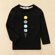 T-Shirt Pineapple-Print Long-Sleeve Planet-Design Kids Tees Girl Us-Size Children 4 Cotton