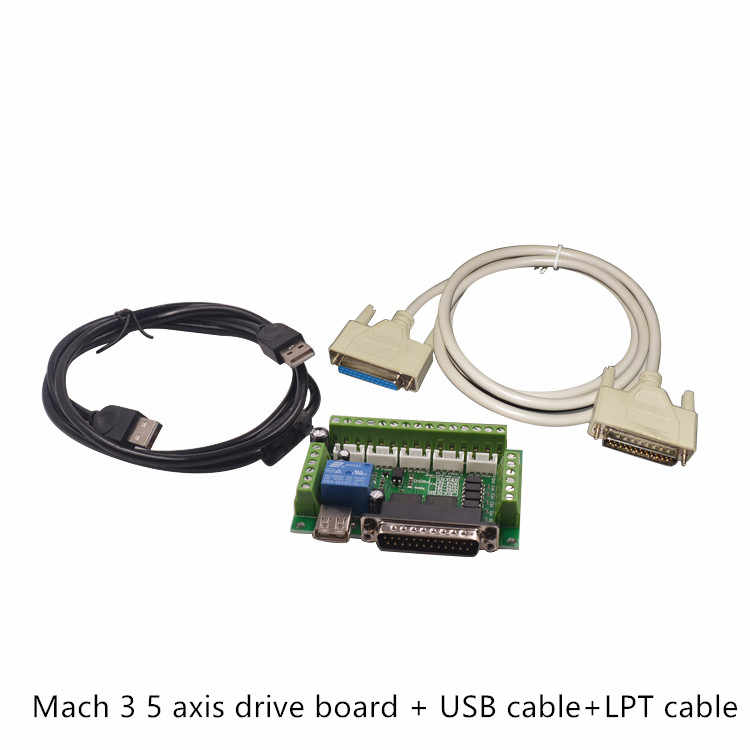 Upgraded 5 Axis CNC Interface Adapter Breakout Board For Stepper Motor Driver Mach3 +USB Cable hot sale and LPT Cable