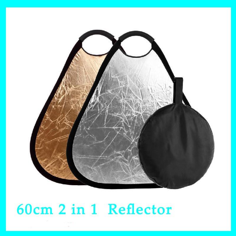 23.6 pouce 60 cm 2 dans 1 Portrait Studio Triangulaire Flash Pliable Réflecteur Grip Poignée Or et Argenté avec Sac pour Multi-Disque