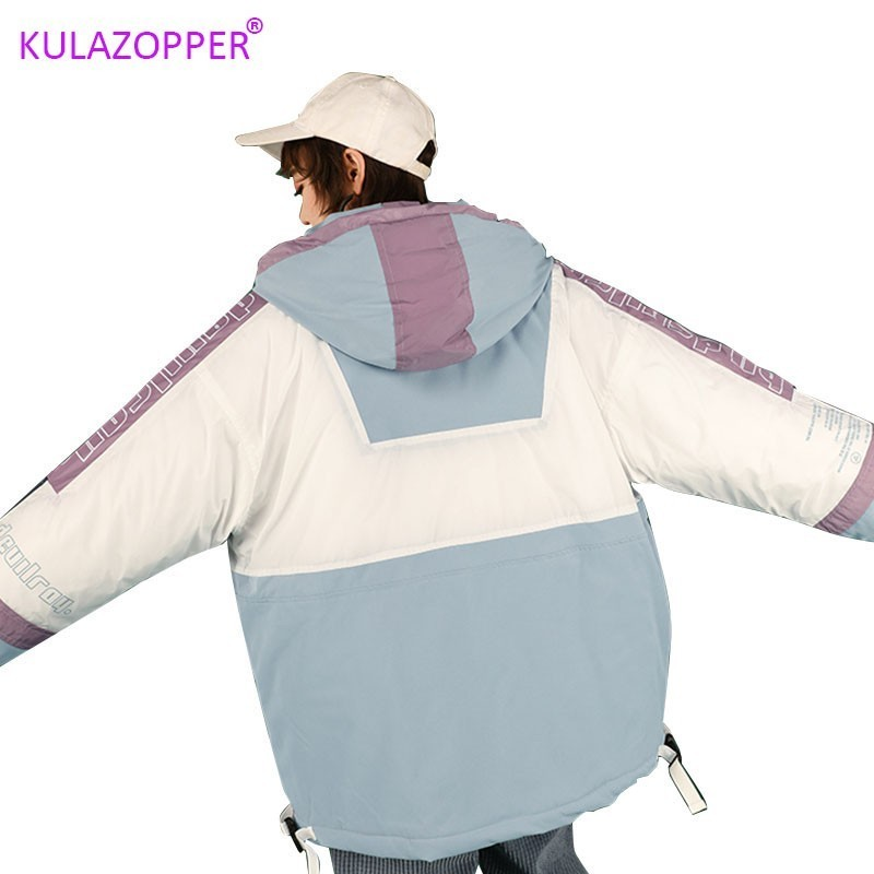 KULAZOPPER Over size Parkas Jackets Women's 2019 Winter New Down Cotton Tooling Coat Hooded Fashion Female Thicken Outwear LZ029(China)