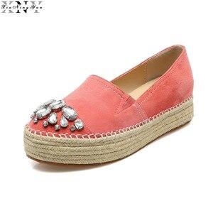 XIUNINGYAN Women's Platform Flats Loafers Slip-on Genuine Leather Leisure Espadrilles Brand Designer Rhinestone Shoes for Women