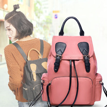 European and American style fashion brand retro canvas laptop backpacks chain drawstring with leather Korean travel backpack 2018 fashion personality colorful unicorn print casual backpack female drawstring style canvas travel backpack girl backpacks