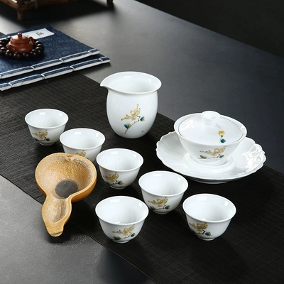 Kung Fu Thé Ensemble Moderne Minimaliste Maison Main-peint Céramique Gaiwan Tasse De Thé de style Japonais Blanc Porcelaine Bureau Teaware ensemble