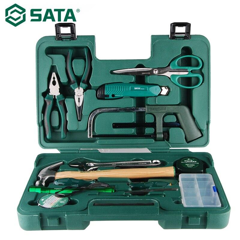 SATA 15pcs Set Eletricista Hardware Casa Caixa de Ferramentas do Agregado Familiar Combinação Reparação Vise Chave De Fenda Set 06008