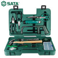 SATA 15 stücke Haushalts Set Elektriker Toolbox Haushalts Hardware Reparatur Kombination Schraubstock Schraubendreher-satz 06008